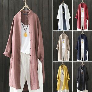 Mode-Femme-Coton-Simple-Manche-Longue-Loose-Tops-Shirt-Manteaux-Cardigans-Plus