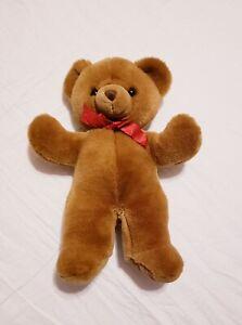 Vintage-Russ-Berrie-16-034-Cinnamon-Teddy-Bear-Plush-Stuffed-Animal-Toy-Red-Ribbon