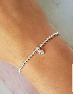 Children-039-s-Sterling-Silver-Sparkle-Heart-Stretch-Bracelet-Stack-Bracelet
