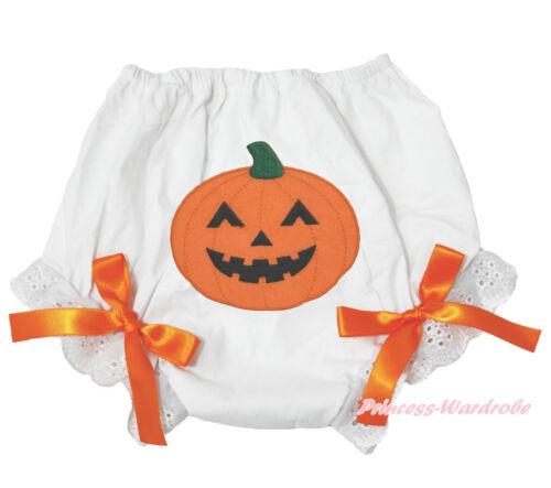 Halloween Pumpkin Witch Skull White Orange Cotton Pantie Baby Bloomer 6m-3Year