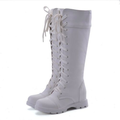 Goth Round Toe Riding Combat Shoes Women Low Heel Lace Up Knee High Biker Boot t