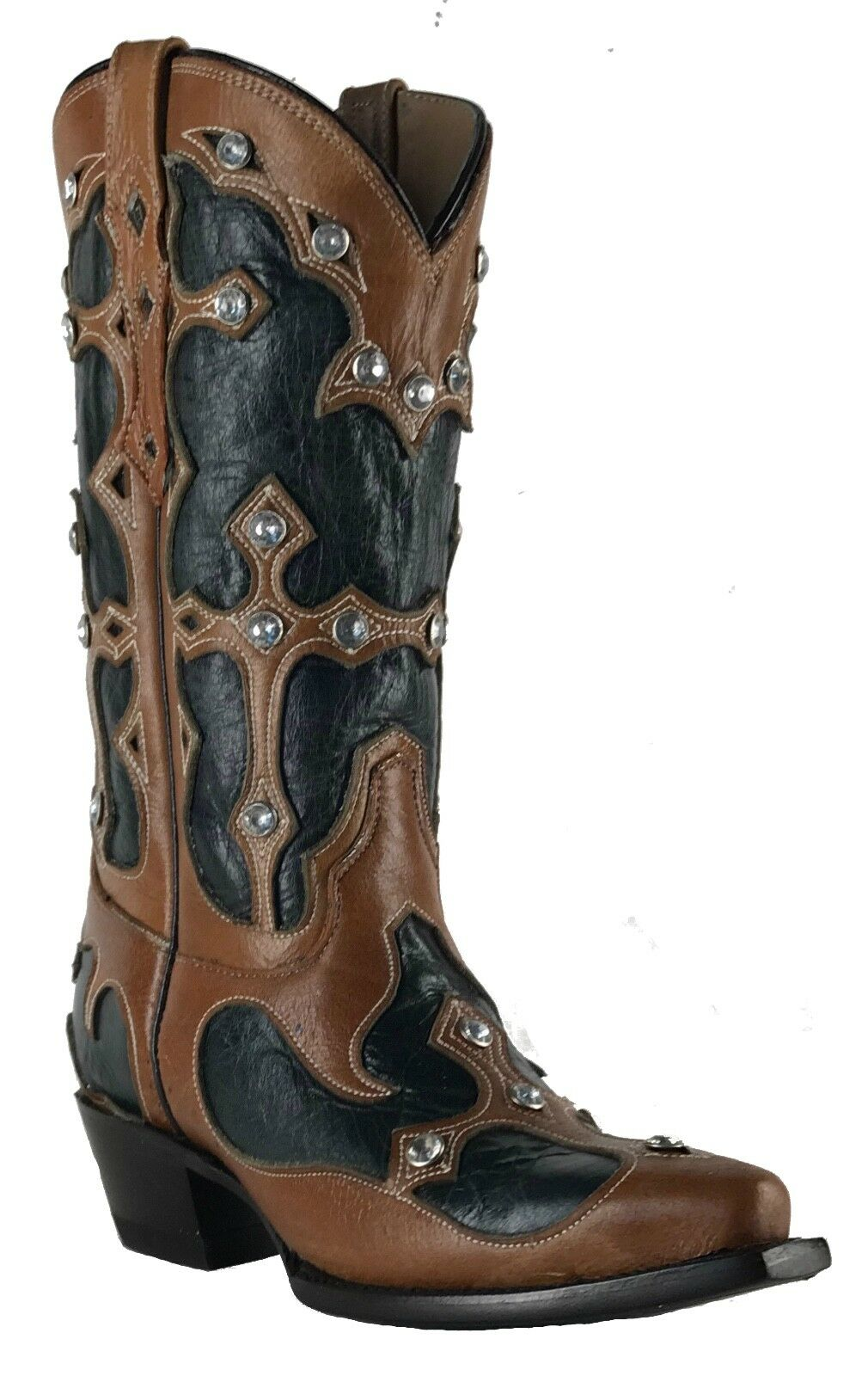 Women's New Leather Studs Cowgirl Western Biker Boots Snip Brown Black Sale