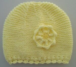 a5978c0c90b 0-3 Months Baby Girls Hat Hand Knitted Pink White or Lemon Flower ...