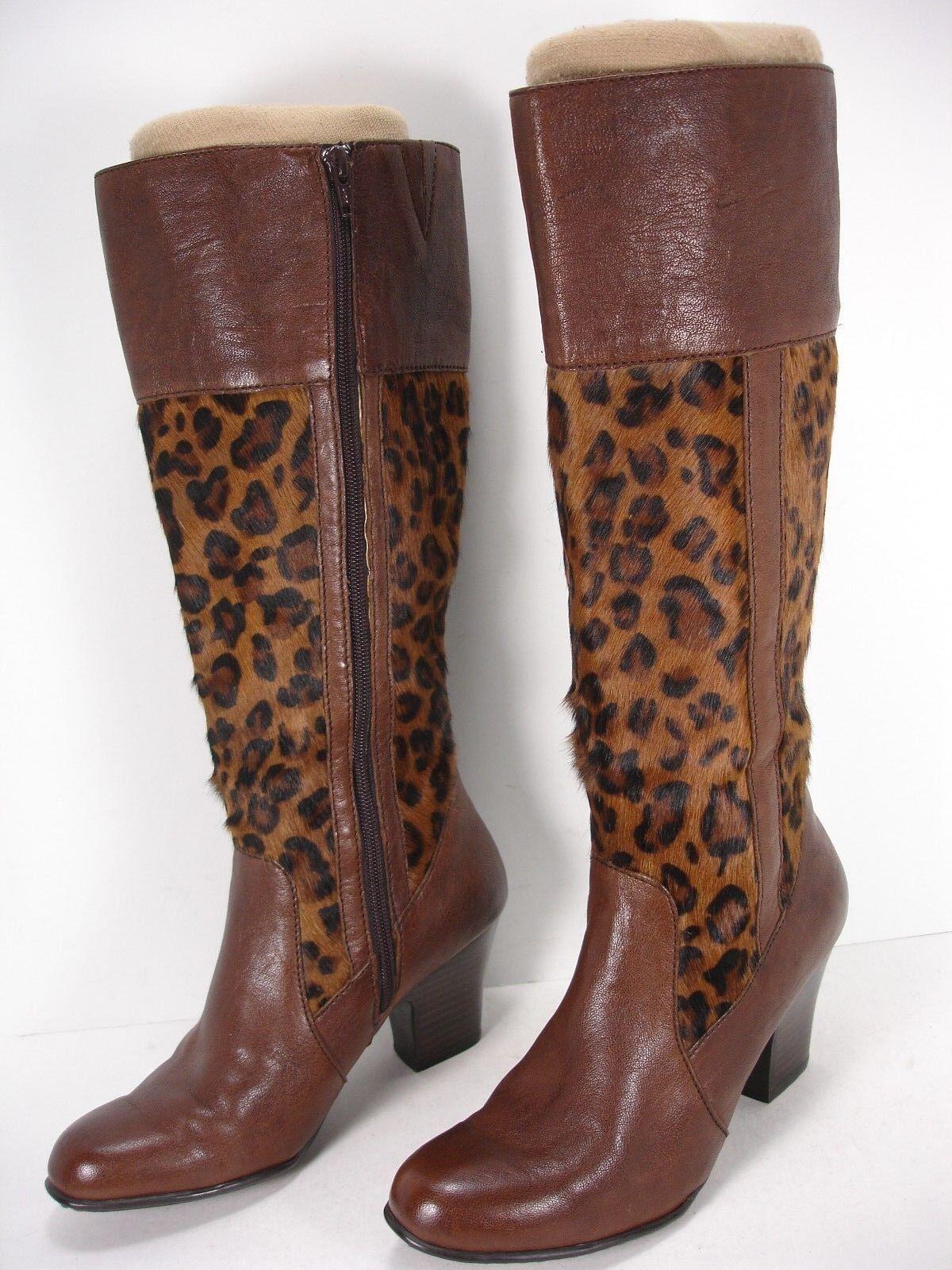 Born Crown W9453 Cuero Estampado de Leopardo Pelo De Pony la rodilla botas altas para mujer 7.5 M