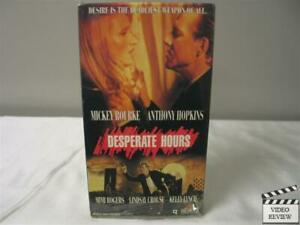 Desperate Hours Vhs 1990 Mickey Rourke Anthony Hopkins Mimi Rogers 27616216731 Ebay The desperate hours directed by michael cimino, is an attempt to remake the humphrey bogart classic of the same name with indifferent results. ebay