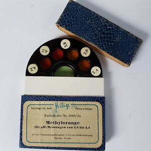 Antique-FRITZ-HELLIGE-Disc-Color-Filters-to-Determine-pH-2-8-to-4-4-Methylorange
