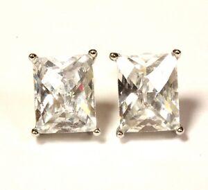 925-Sterling-Silver-fancy-princess-cubic-zirconia-cz-stud-earrings-2-8g-estate