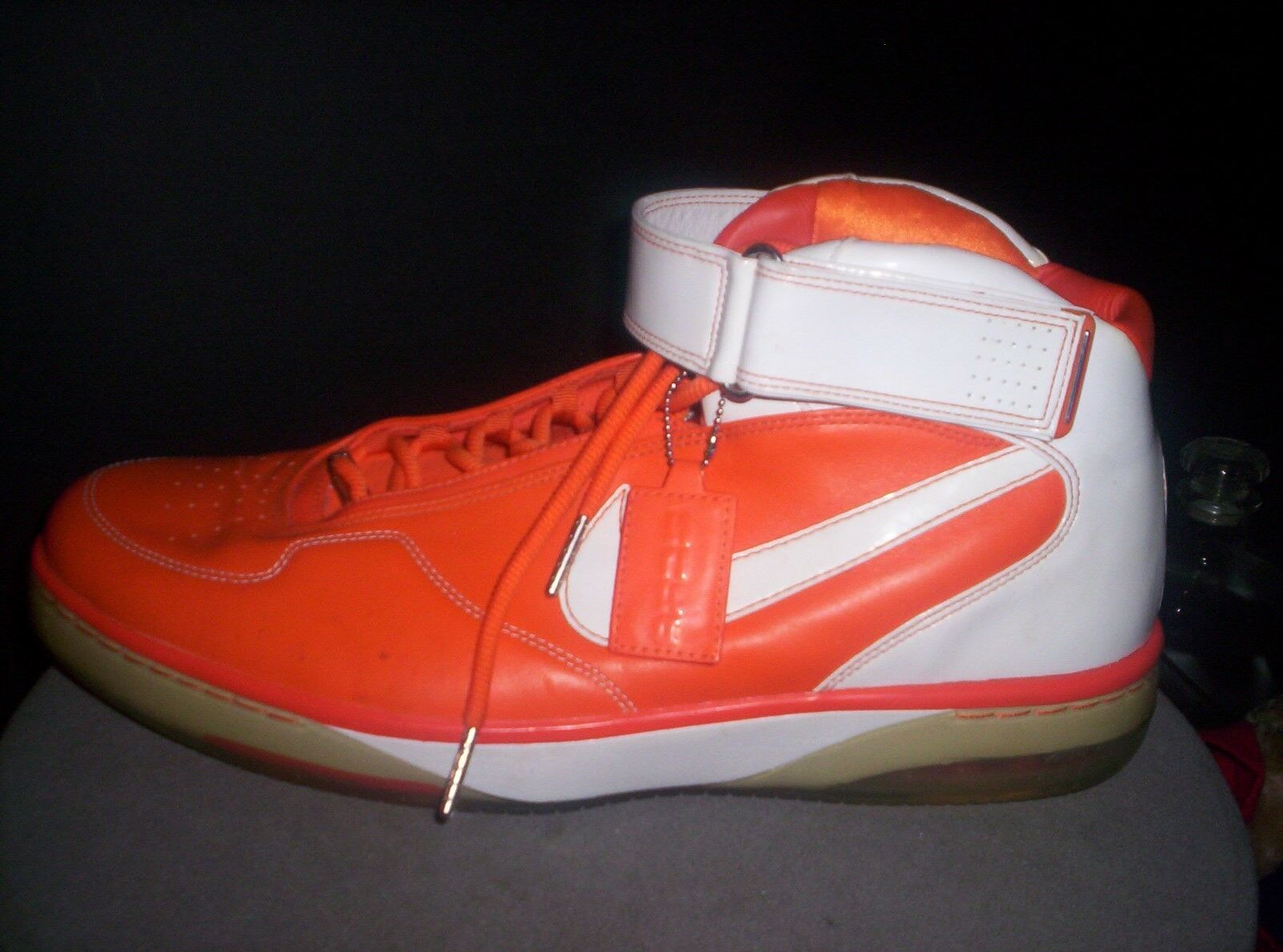 Nike Air Force AF1 Shoes Men 14 Mid Orange & White