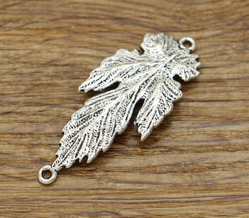 5 Large Leaf Connector Charms Tree Leaf Pendant Antique Silver 51x21 2445