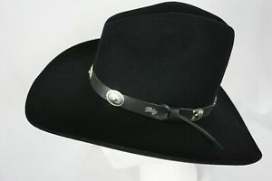 1a0086bd0 Details about Bailey TOMBSTONE XX Wool Blend Mens Conch Cowboy Black Felt  Hat Sz 6 3/4