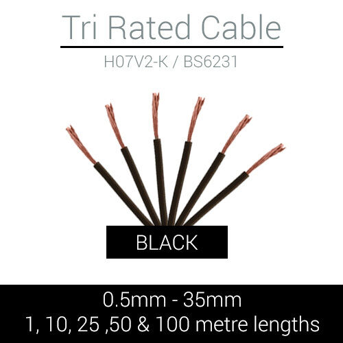 35MM SOLD PER METRE,10M,25M,50M OR 100M DRUM BLACK TRI RATED CABLE 0.5MM