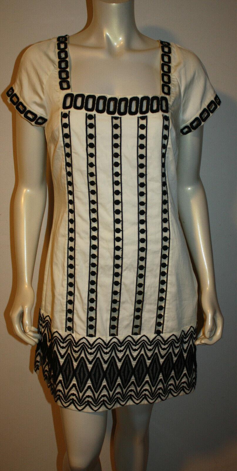 Catherine Malandrino Brodé Blanc Noir Tunique Shift Robe Neuf Avec Étiquettes 10 Découpe