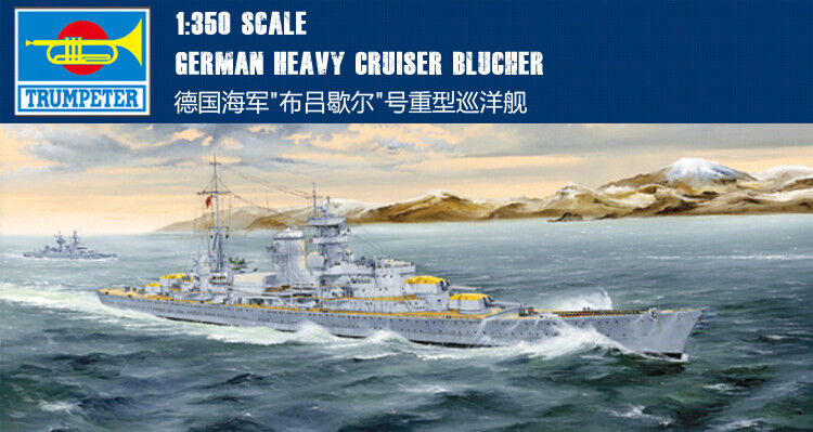 GERMAN HEAVY CRUISER blueCHER 1 350 ship Trumpeter model kit 05346
