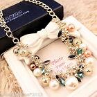 Neu Damen Luxus Modeschmuck Collier Statement Halskette Perlen Kristall 54cm
