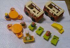 Fisher Price Vintage Mini Bus School Playground 21 pc Lot Teacher EUC