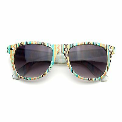 Retro Indie Fun Pattern Color Assorted Print Horned Rim Sunglasses
