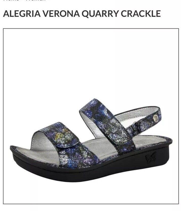 NEW Alegria Leather Sandals with Adj. Straps - VERONA - QUARRY CRACKLE  7.5 8 38