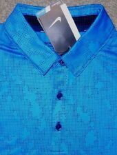 Nike sz L Men's Mobility Micro GEO Golf Shirt Polo NEW $80 873112 406 Blue