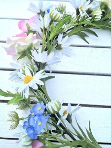 Wiesenblumen-Rosen-Deko-Kranz-Tischkranz-29cm-Blumenkranz-Tuerkranz-Wandkranz