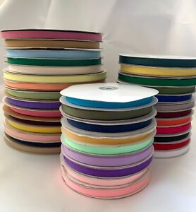 """1//4/"""" Grosgrain Ribbon Polyester Solid Narrow Assorted Colors Spool 50 100 yds"""