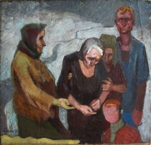 """Russischer Expressionist Öl Leinwand """"Familie"""" 109x105 cm"""