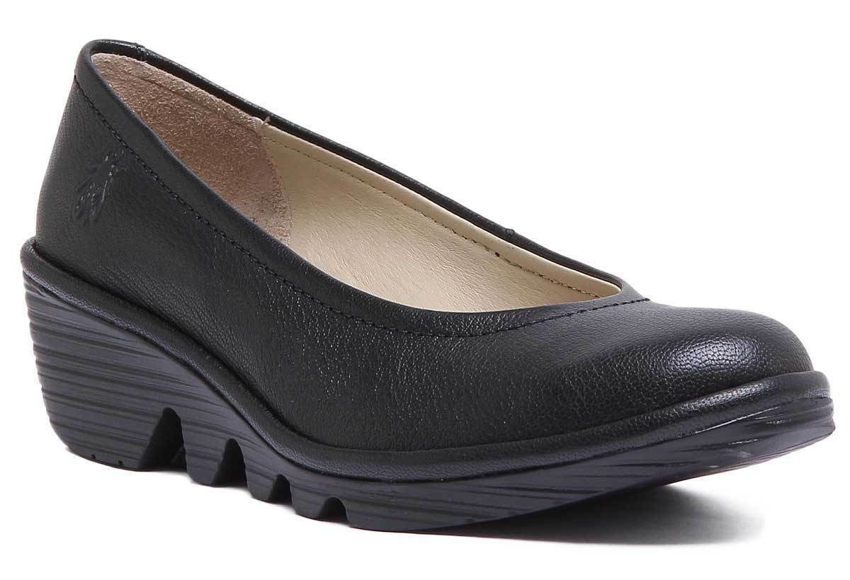 Fly London Pump Womens Black Leather Matt Flat shoes UK Size 3 - 8