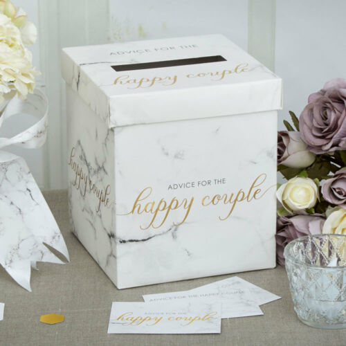Scripted Marble Wedding Wishes Post Box with 50 Advice Message Cards
