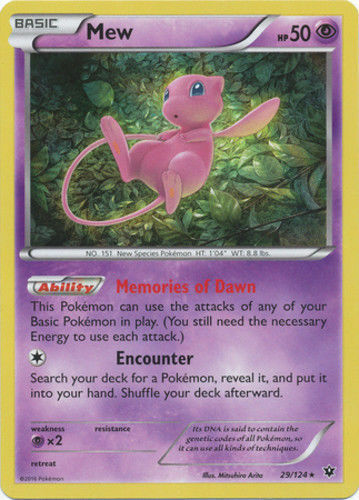 Pokemon MEW 29//124 RARE HOLOFOIL NM CARD XY FATES COLLIDE