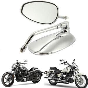 2PCS-Motorcycle-Oval-Chrome-Rear-View-Glass-Mirror-For-Ducati-KTM-Kawasak-ns