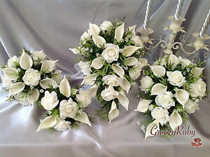 Image Is Loading Ivory Rose Amp Calla Lily Teardrop Bouquet Bridesmaid