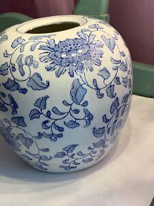 Vintage-Blue-amp-White-Ginger-Jar-Vase-Asian-Floral-9-Tall