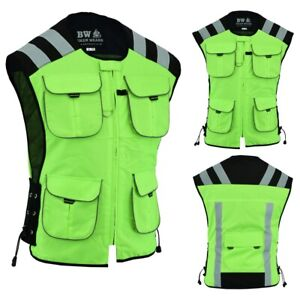Mens-Motorbike-Motorcycle-Cycle-High-Visibility-Reflective-Hiviz-Vest-Waistcoat
