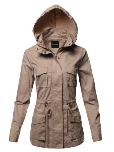 FashionOutfit Women/'s Anorak Utility Safari Hoodie Long Sleeves Cotton Jacket