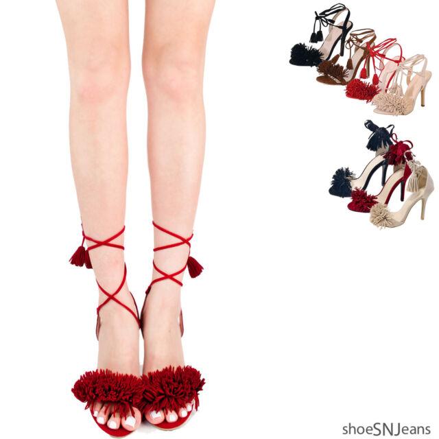 New Women Fashion Fringe Lace Up Stiletto Heels Strappy Cut Out Sandal Pump Shoe