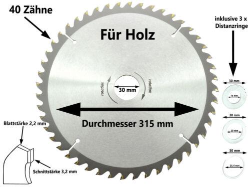 Sägeblatt Kreissägeblatt Hand Kreissäge 315 x 30 mm x 40 Z Kapp Tauch Säge Blatt