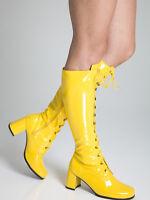 Yellow High Boots - Fancy Dress Fashion Eyelet Boots - Size 4 Uk - Yellow Patent
