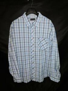 MB-Studio-3X-NWT-Blue-Plaid-Shirt-Long-Sleeve-Button-Front-3XL-Mens-New-Cotton
