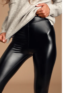 USA-Women-Faux-Leather-PU-Shinny-High-Waist-Stretch-Leggings-Pants-Wet-Look-S
