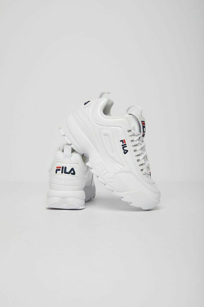 NEW WOMENS CLASSIC FILA DISRUPTOR 2 PREMIUM PATENT WHITE CROSS TRAINING SNEAKERS