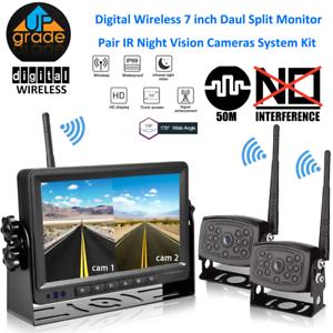 "Digital 2 X Wireless Rear View Backup Camera + 7"" Split Monitor For RV Truck Bus"