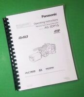Laser Printed Panasonic Ag-3dp1g Video Camera 140 Page Owners Manual Guide