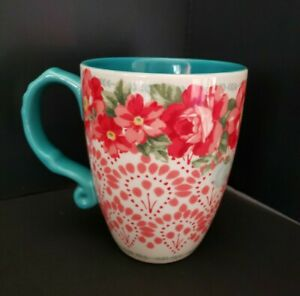 Pioneer-Woman-Roses-Flowers-Red-amp-Teal-Stoneware-Latte-Cup-28-oz-Coffee-mug