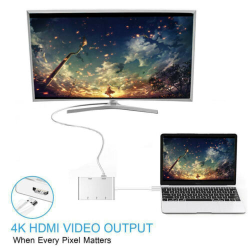 5 in1 Type C to HDMI USB-C VGA With Video Multi USB Hub Converter