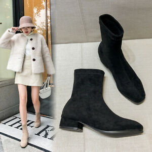 Woman's Autumn Black Suede Sock Boots