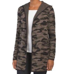 Rachel Zoe Camo Print Hooded Open Cardigan Sweater Size M Camouflage Green Black