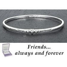 GIFT BOXED Equilibrium Silver Plated Bangle Friends 3 Hearts Slim Bracelet Quote