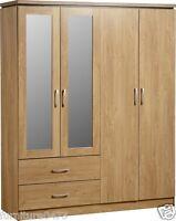 Oak Effect 4 Door 2 Drawer Mirrored Wardrobe W154cm X D52.5cm X H190cm Charley