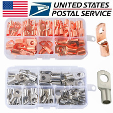 Battery Baretinned Copper Ring Terminals Cable Lugs Connector Kit Wire Gauge Us