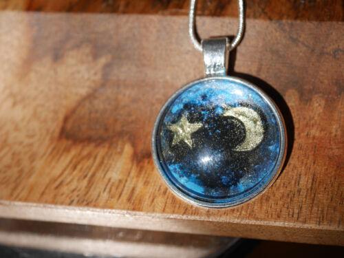 Luna y estrella cielo cabochon collar-artículos únicos