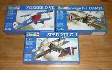 Set Revell 1/72 WW1 - Fokker D.VII, Sopwith Camel, SPAD XIII